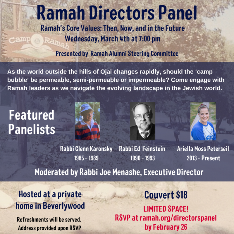 Ramah Directors Panel Featuring Rabbi Glenn Karonsky, Rabbi Ed Feinstein, and Ariella Moss Peterseil