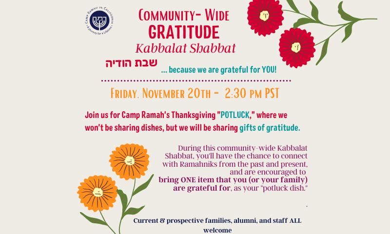 Community-Wide: Gratitude Kabbalat Shabbat